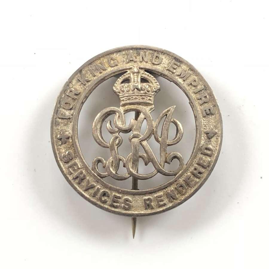 WW1 Army Ordinance Corps Silver War Badge.