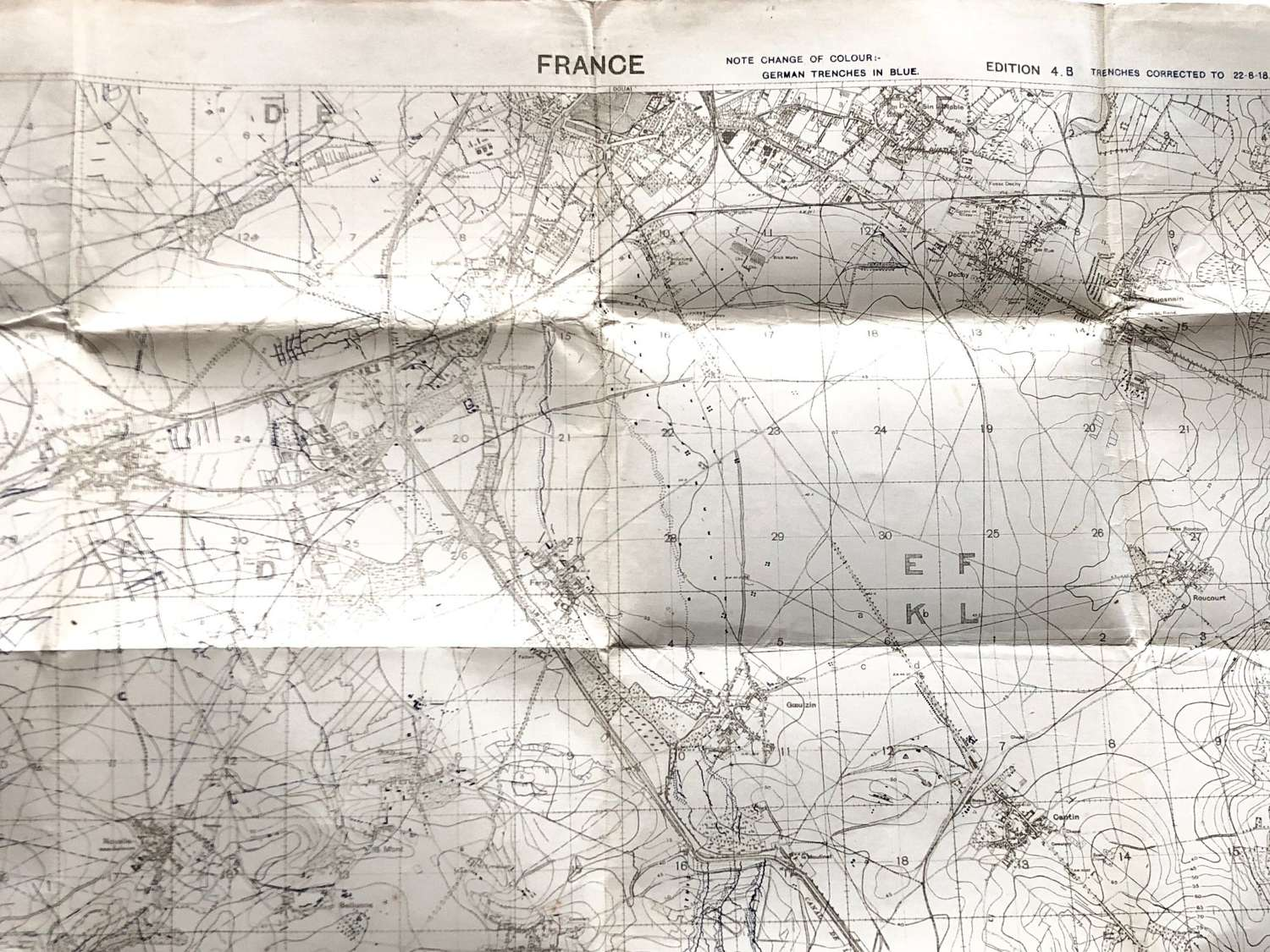 WW1 August 1918 British Army Trench Fighting Map,
