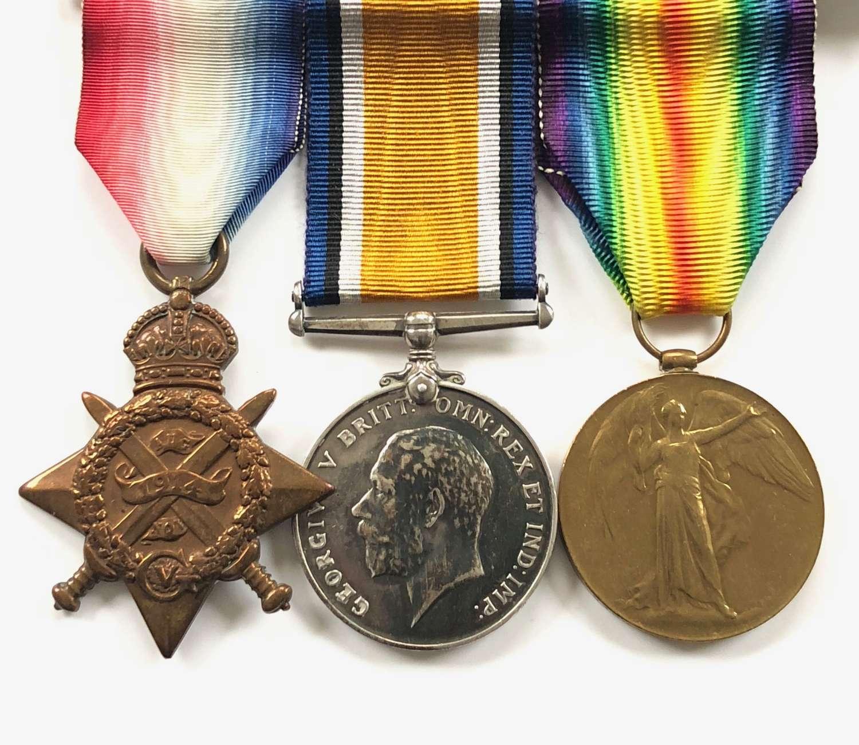 WW1 2nd Bn Devonshire Regiment 1914 Star Group of Three Medals.