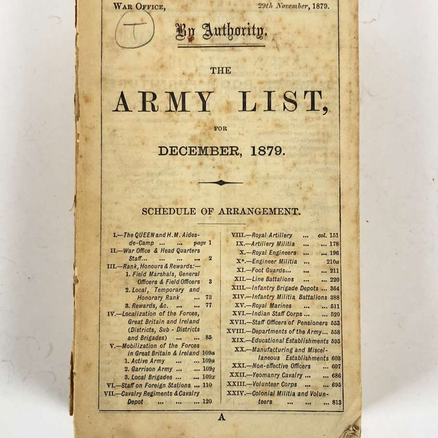 Zulu War Period Original 1879 British Army List.