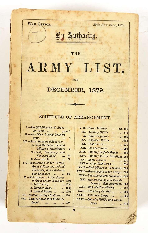 Zulu War Period Original 1879 British Army List.