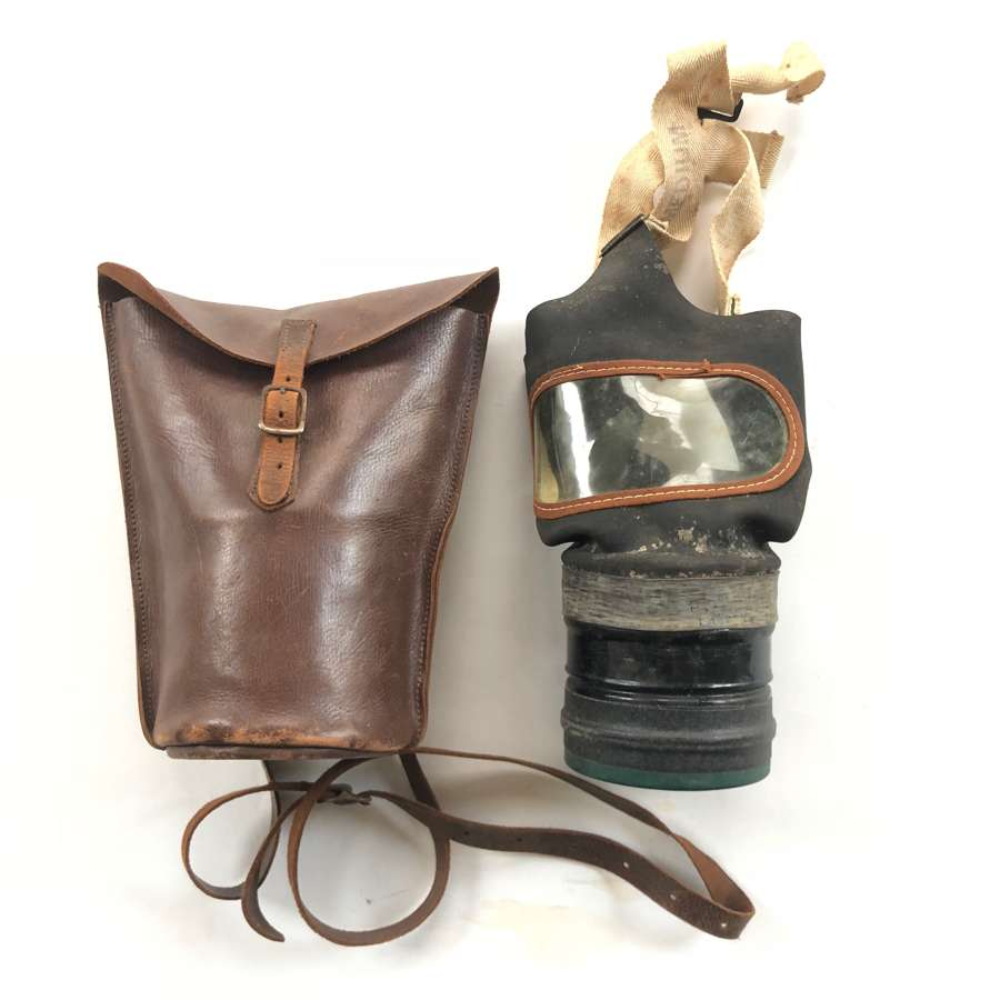 WW2 Home Front Civilian Gas Mask & Leather Case.