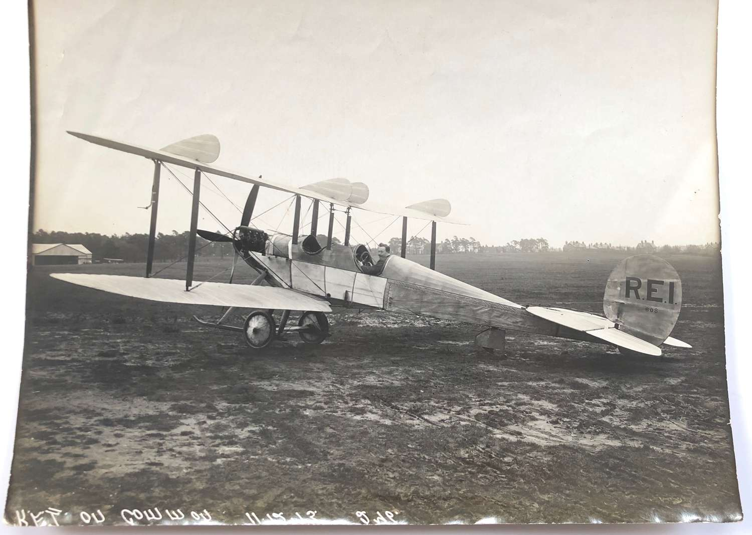 "1913 Aviation Historic Large Photograph of ""RE1"" Aircraft."