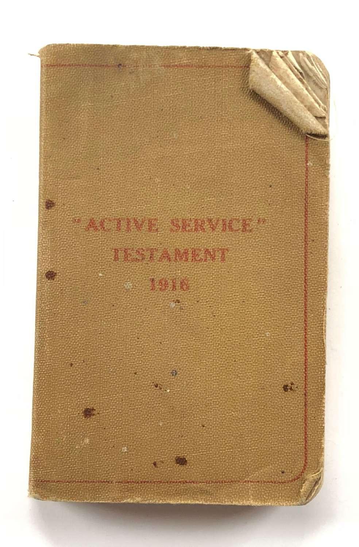 """WW1 1916 """"Active Service Testament"""". Exeter Devon."""