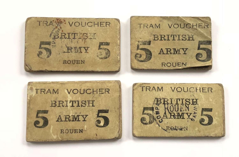WW1 British Army Rouen France Tram Voucher Tickets.