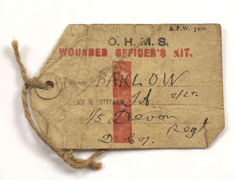 WW1 1/5th Bn Devonshire Regiment Wounded Officer's Kit Label