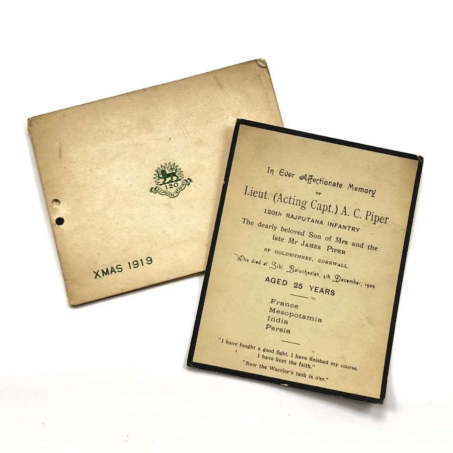 120th Rajputana Infantry Officer's Memorial Card & Christmas Card.