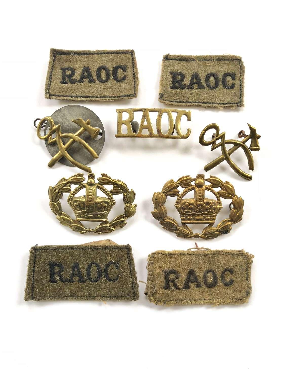 WW2 Royal Army Ordinance Corps RAOC Badges.