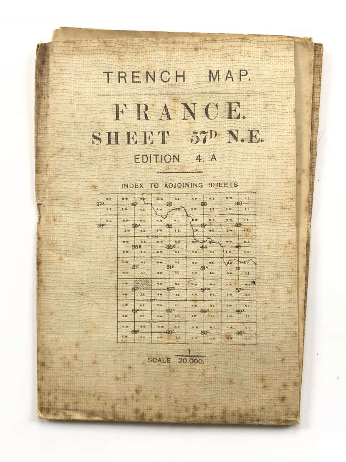 WW1 Original British Army Linen Backed Trench Map Part