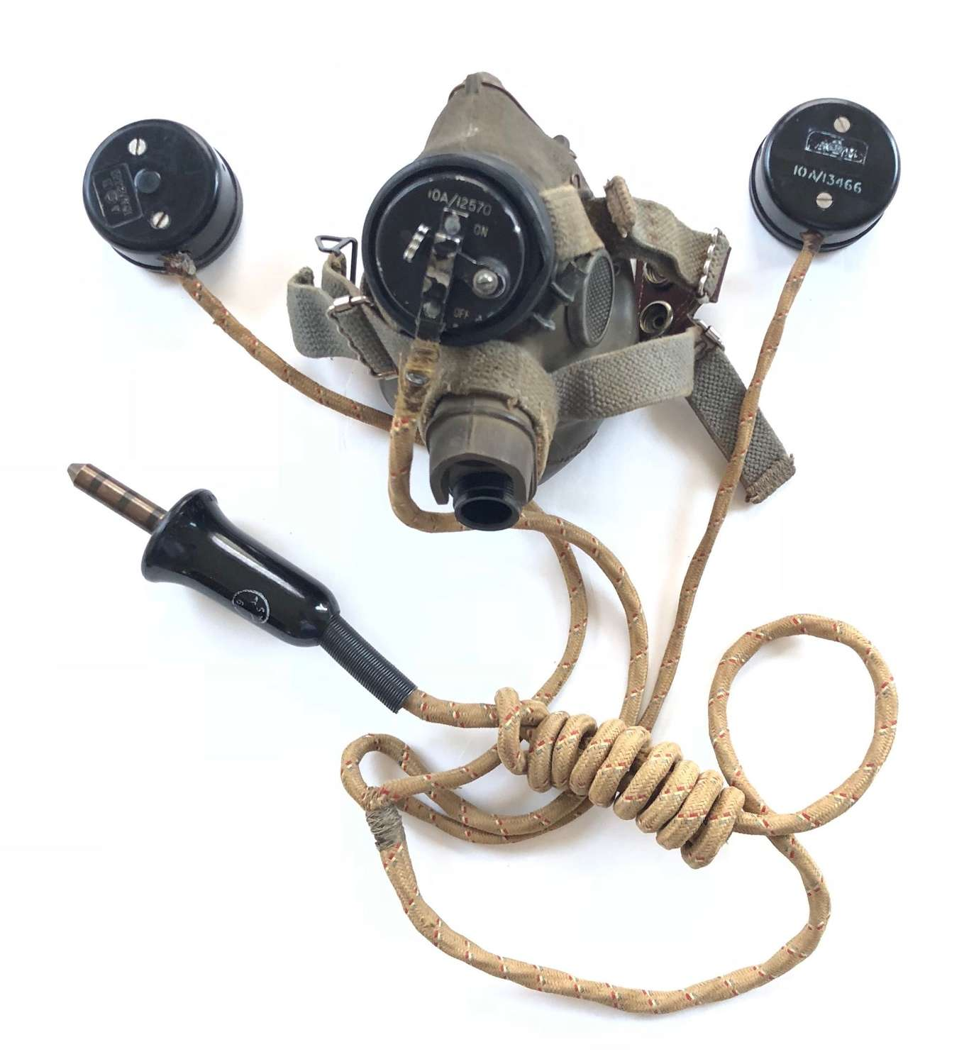 WW2 RAF Aircrew G Type Oxygen Mask & External Wiring Loom.
