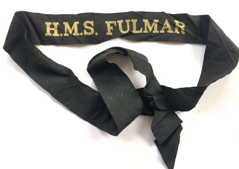 Fleet Air Arm HMS Fulmar Full Length Ratings Cap Tally Badge.