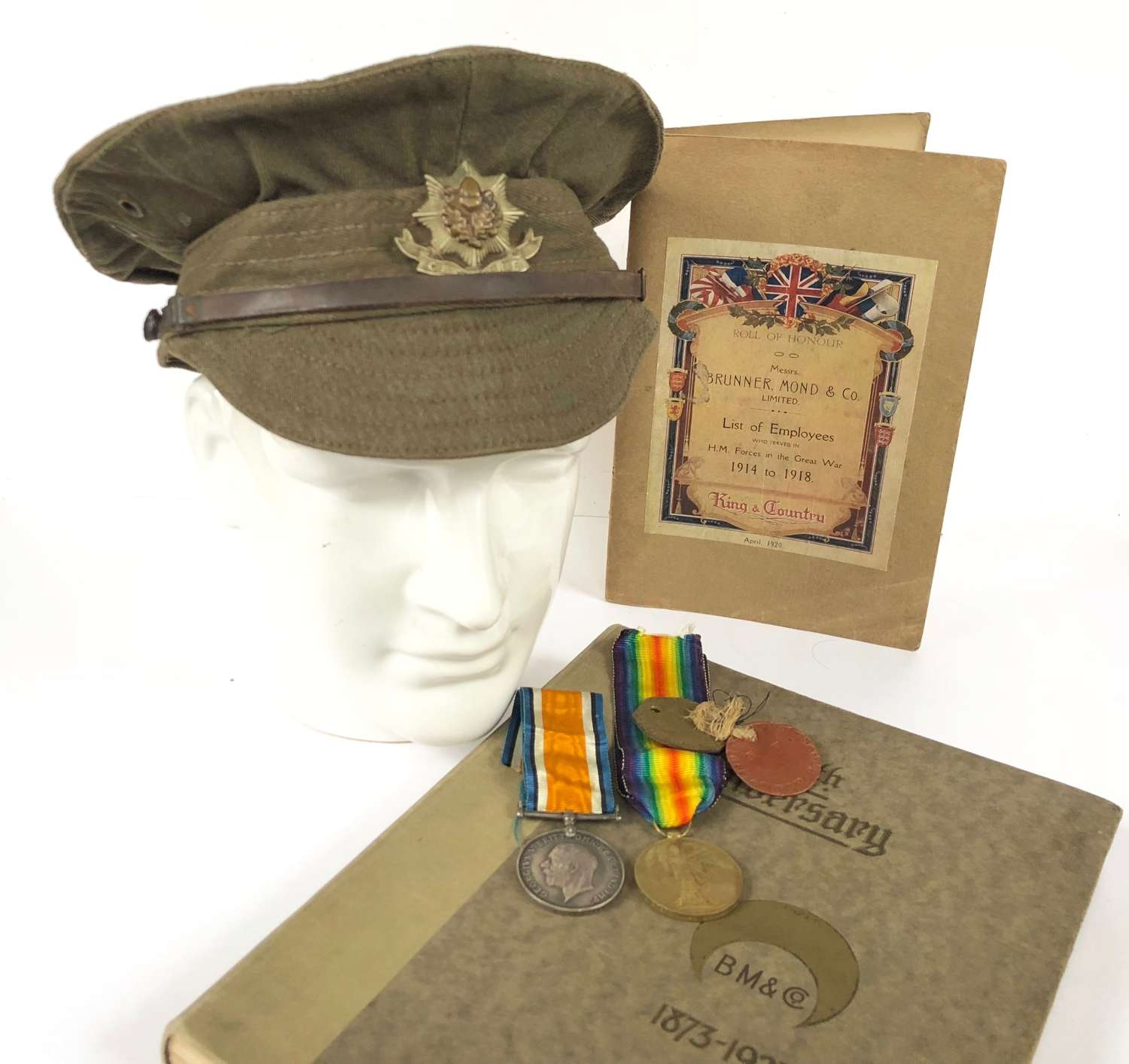 WW1 5th Bn Cheshire Regiment Attributed Trench Cap, Medals, Dog Tags.