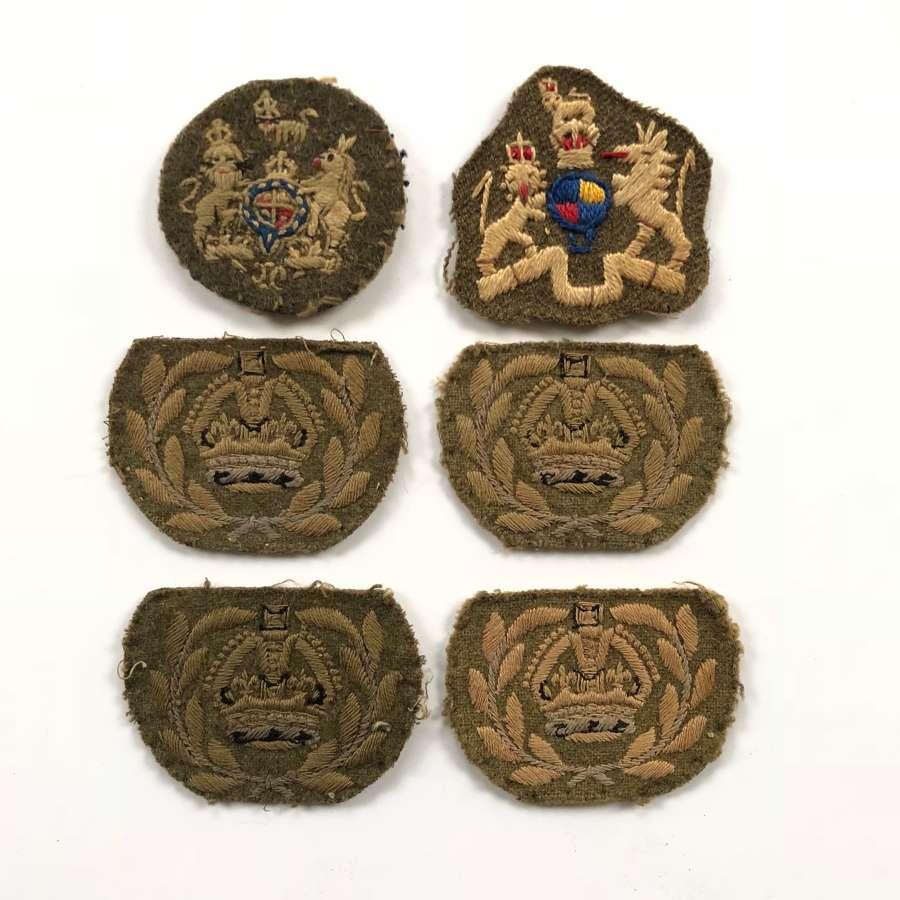 WW2 British Army Warrant Officer Cloth Rank Badges.