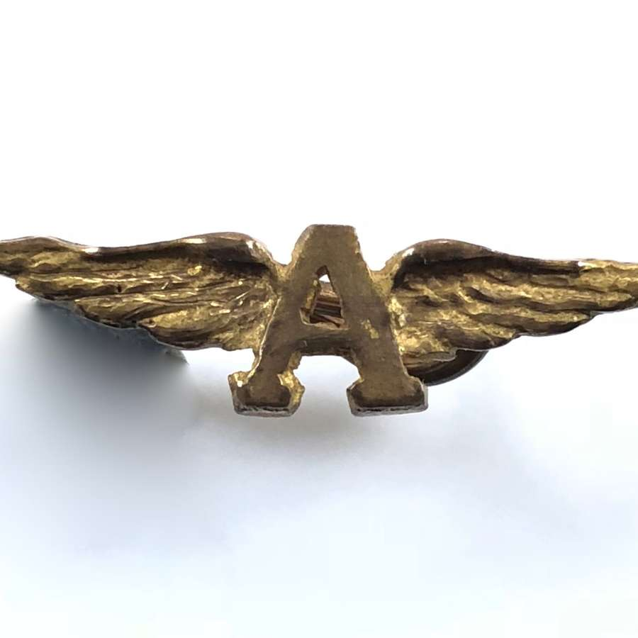 "WW1 Royal Naval Air Service winged ""A"" RNAS shoulder board badge"