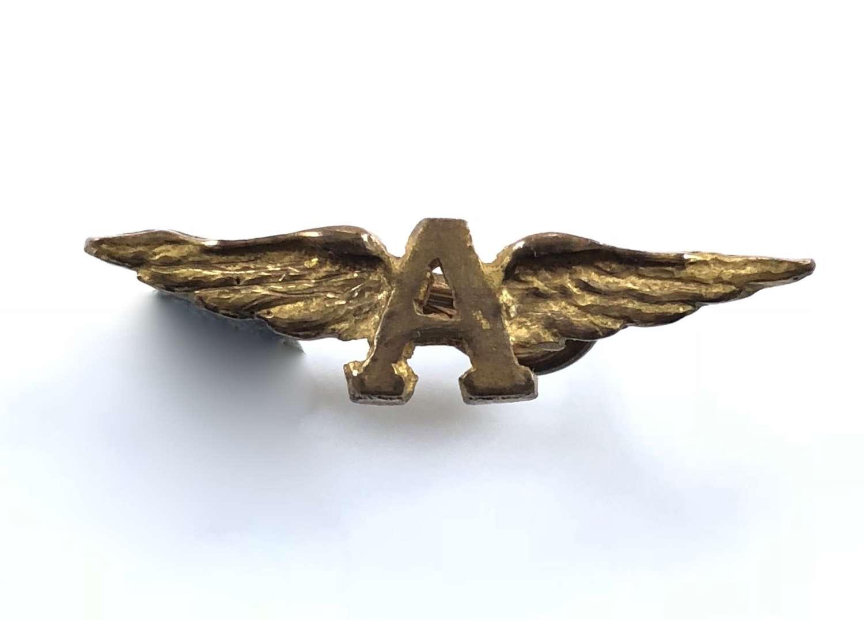 "WW1 Royal Naval Air Service winged ""A"" RNAS shoulder board badge"