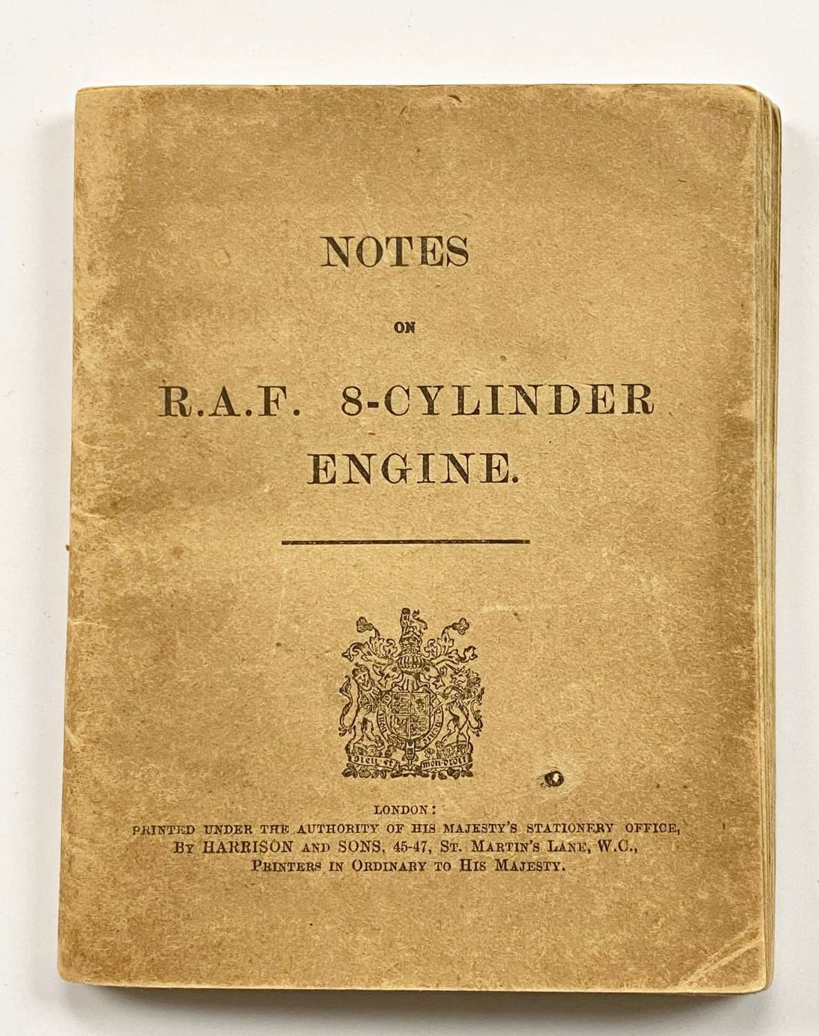 WW1 RFC / RNAS 1916 Notes for the RAF 8 Cylinder Aircraft Engine.