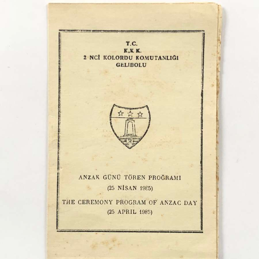 WW1 1985 Programme For Anzac Day.
