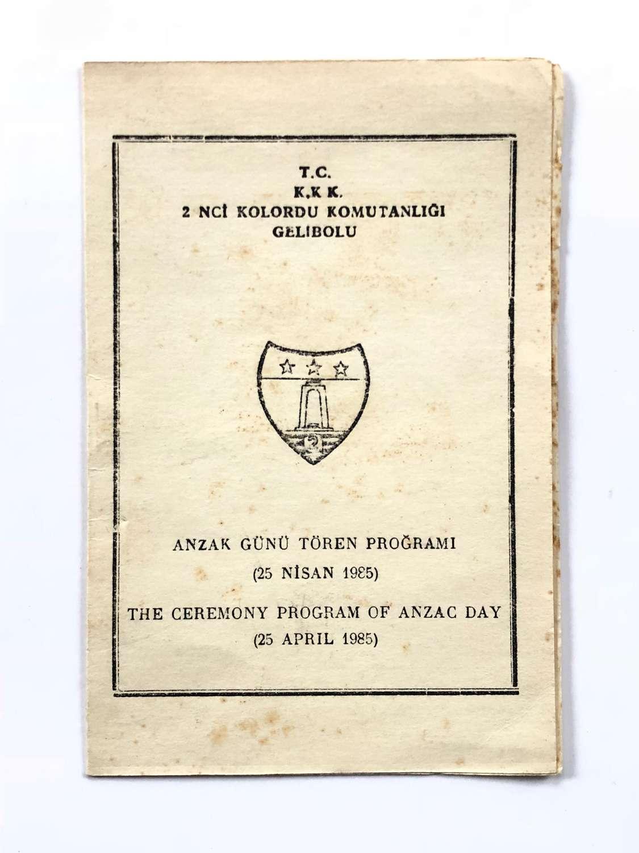 WW1 1985 Programme For Anzac Day.