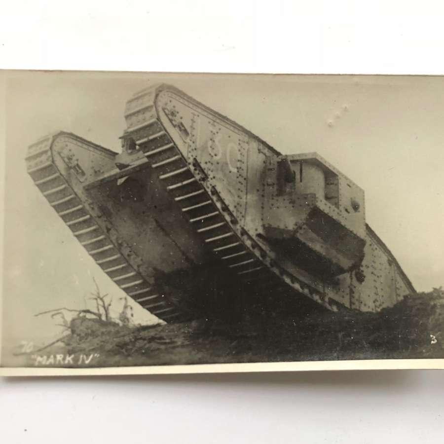 WW1 Tank Corps Photographic Postcard MK IV Tank.
