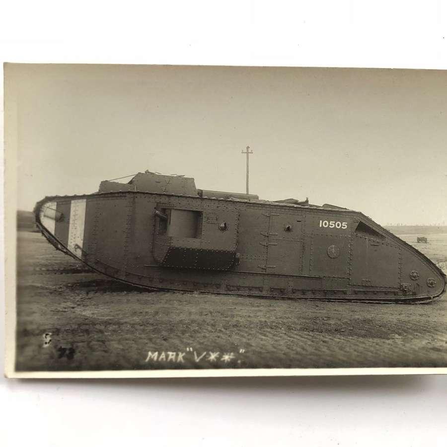 WW1 Tank Corps Photographic Postcard MK V Tank.