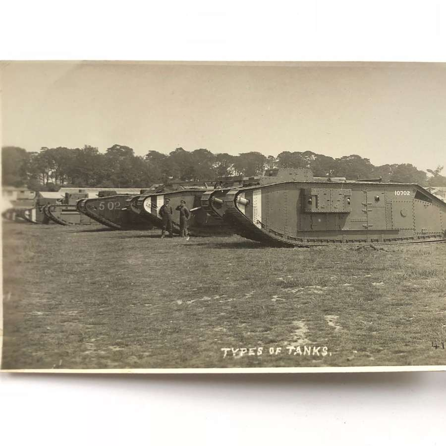 WW1 Tank Corps Photographic Postcard. Various Tanks