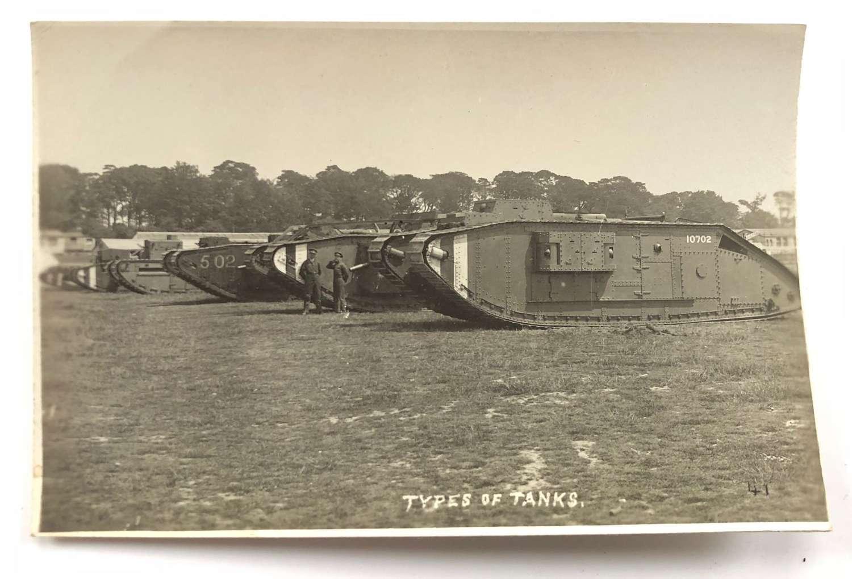 WW1 Tank Corps Photographic Postcard. Various Tanks
