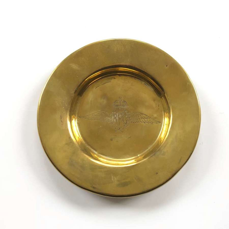 WW1 Royal Flying Corps Trench Art Style Brass Dish.