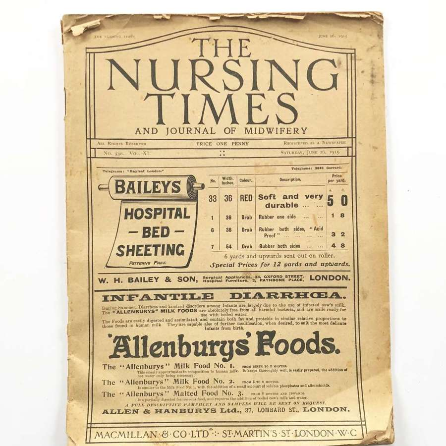 WW1 1915 The Nursing Times Red Cross Interest.