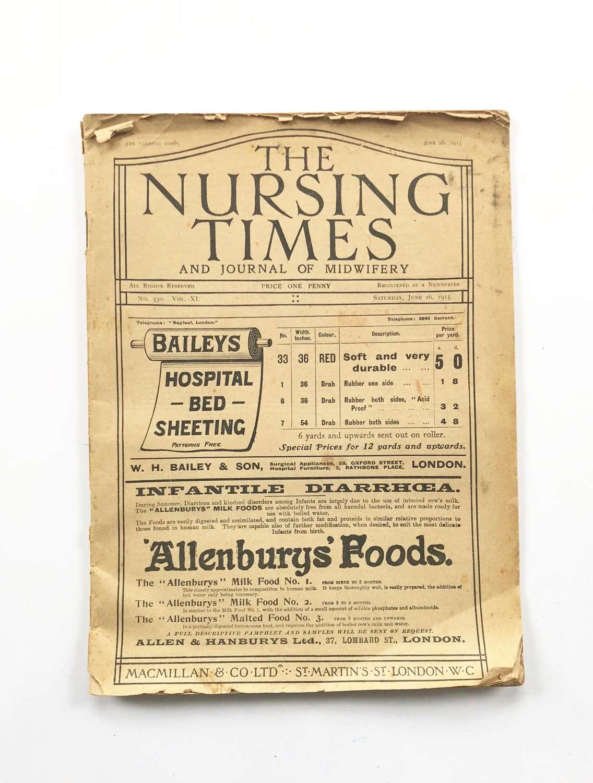 WW1 1915 The Nursing Times Red Cross Interest.