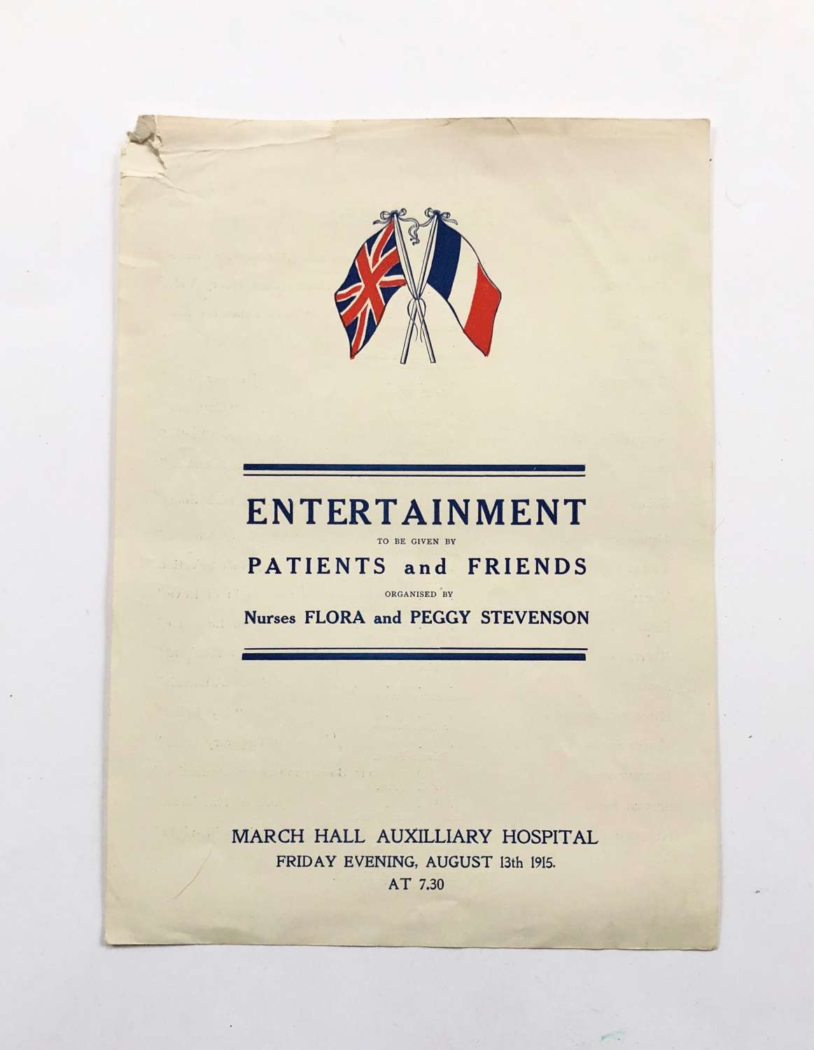 WW1 Home Front Red Cross Concert Party August 1915.