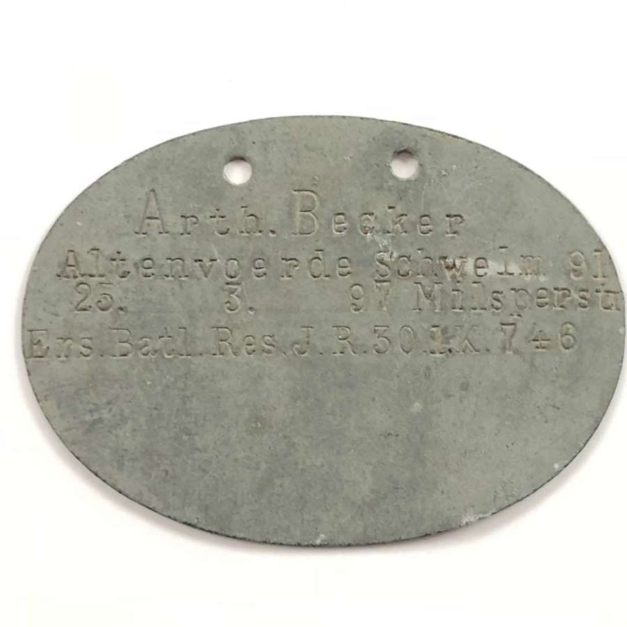 WW1 Imperial German Soldiers ID Dog Tag