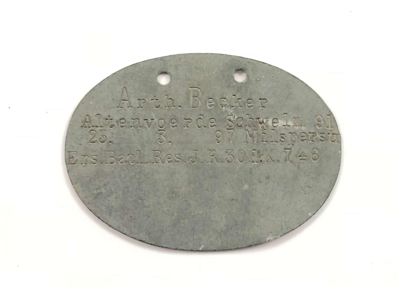 WW1 Imperial German Soldiers ID Dog Tag