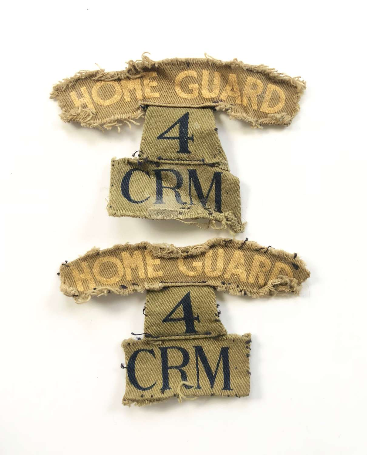 WW2 CARMARTHENSHIRE Llandilo Home Guard Pair of Title Badges
