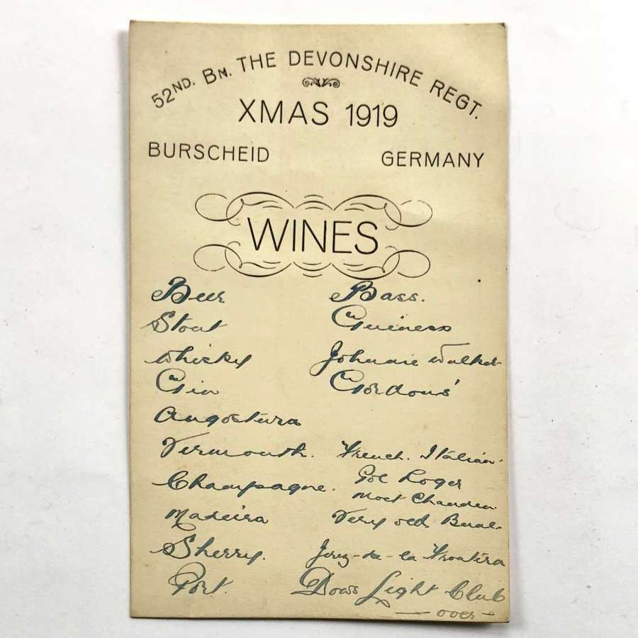 WW1 Period 52nd Bn Devonshire Regiment Christmas Menu Wine List.