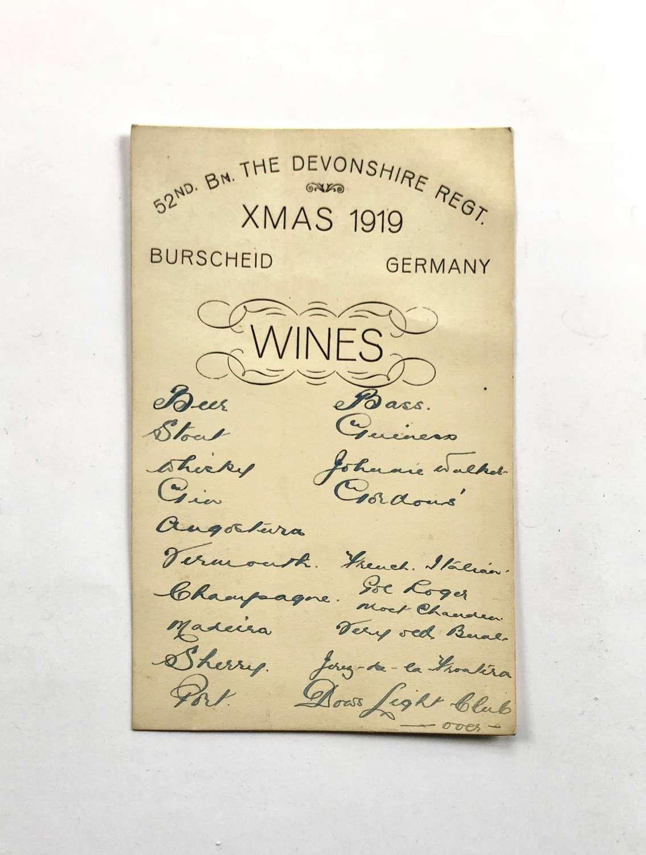 WW1 Period 52nd Bn Devonshire Regiment Christmas Menu Wine List.
