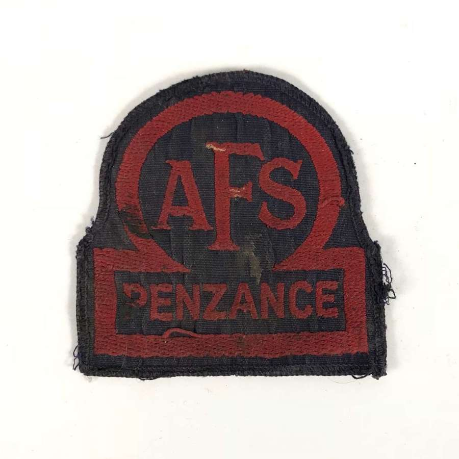 WW2 Auxiliary Fire Service AFS Penzance overall breast badge