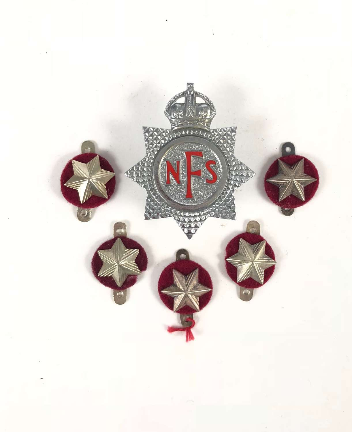 WW2 Period National Fire Service Cap Badge & Rank Badges.