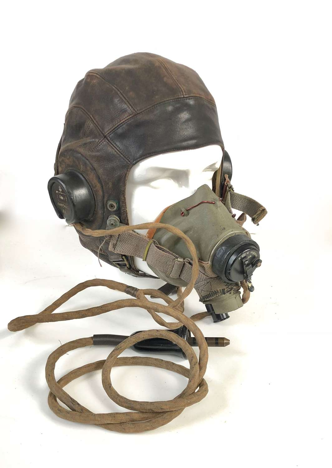 WW2 RAF Attributed Flying Helmet & G Type Mask Combination.