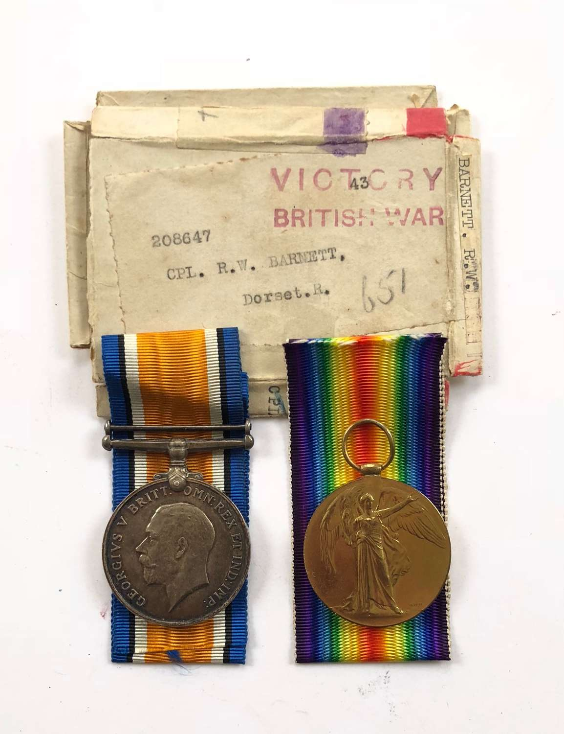 WW1 6th Bn Dorsetshire Regiment 1918 Casualty Pair of Medals.