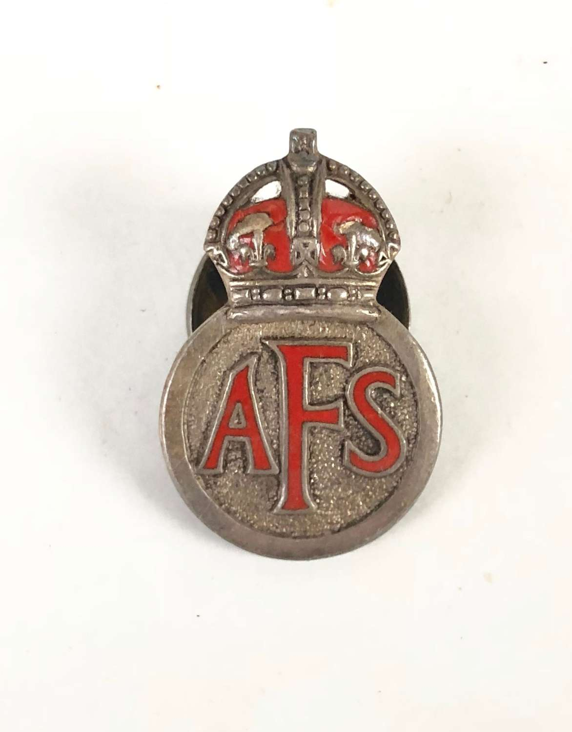 WW2 Auxiliary Fire Service first issue sterling silver AFS badge.