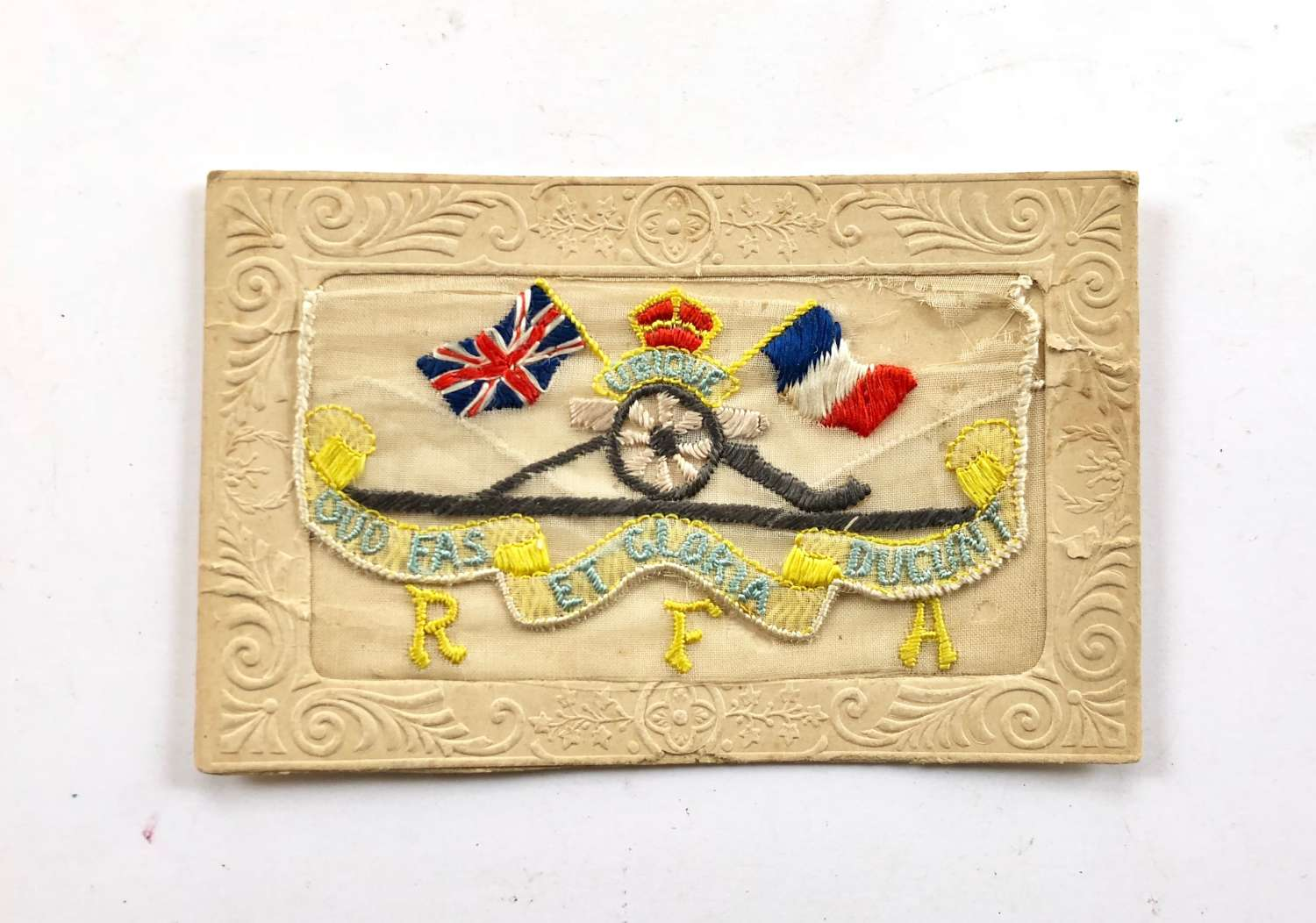WW1 Royal Field Artillery Embroidered Silk Postcard.