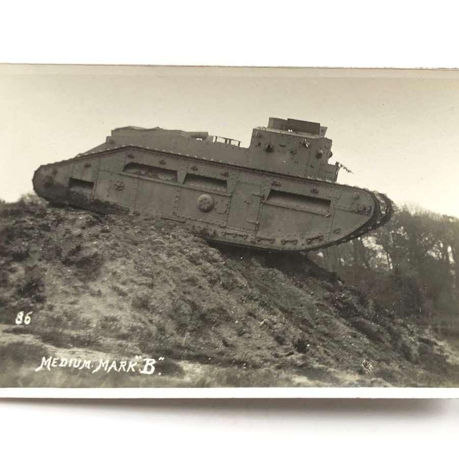 WW1 Tank Corps Photographic Postcard Medium Tank B