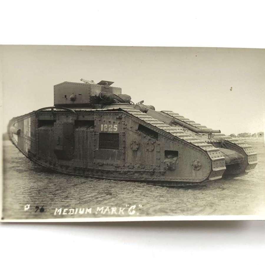 WW1 Tank Corps Photographic Postcard Medium Tank C