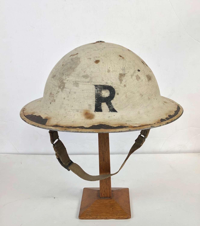 WW2 1939 Blitz Period Senior Rescue Wardens Helmet.
