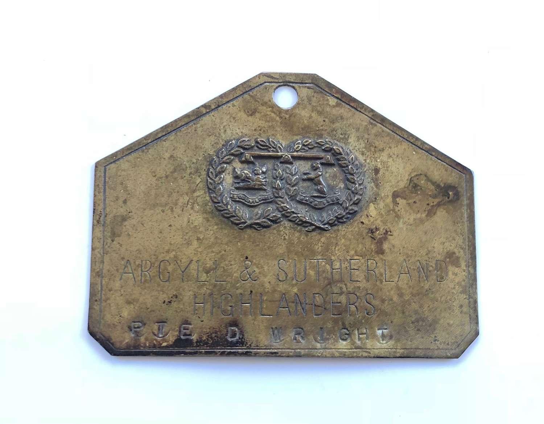 Scottish Argyll & Sutherland Highlanders Duty Plate
