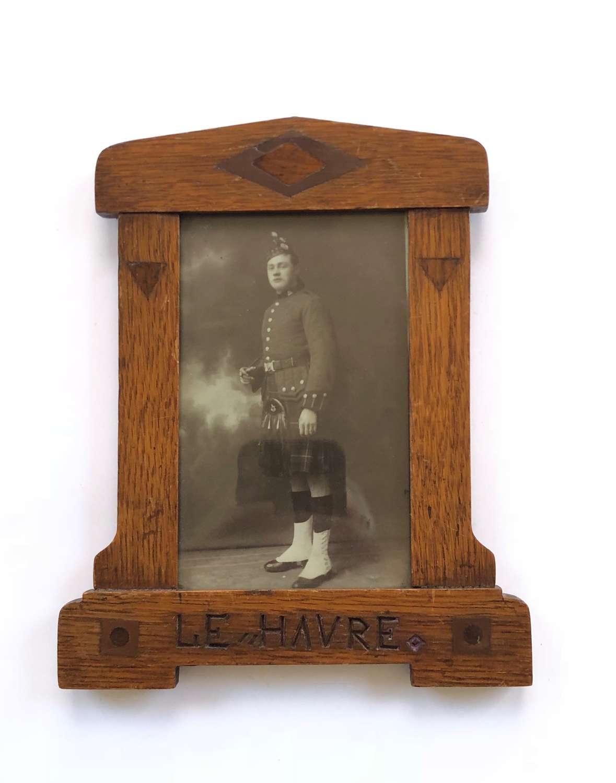 WW1 Liverpool Scottish Regiment Le Havre Picture Frame.