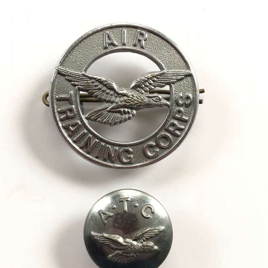 Air Training Corps ATC RAF Cap Badge and Button.
