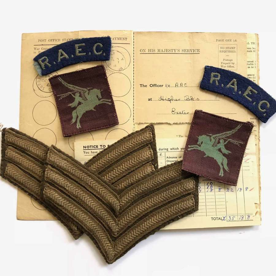 WW2 Airborne Forces Printed Pegasus Attributed Badges.