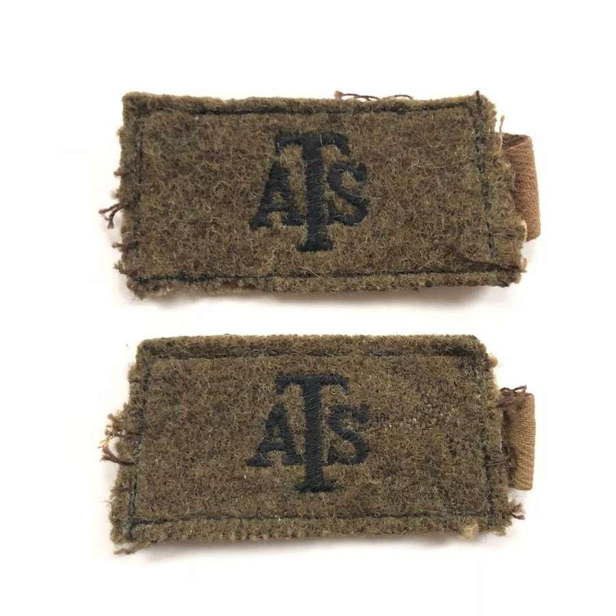 WW2 ATS Slip On Cloth Shoulder Titles.