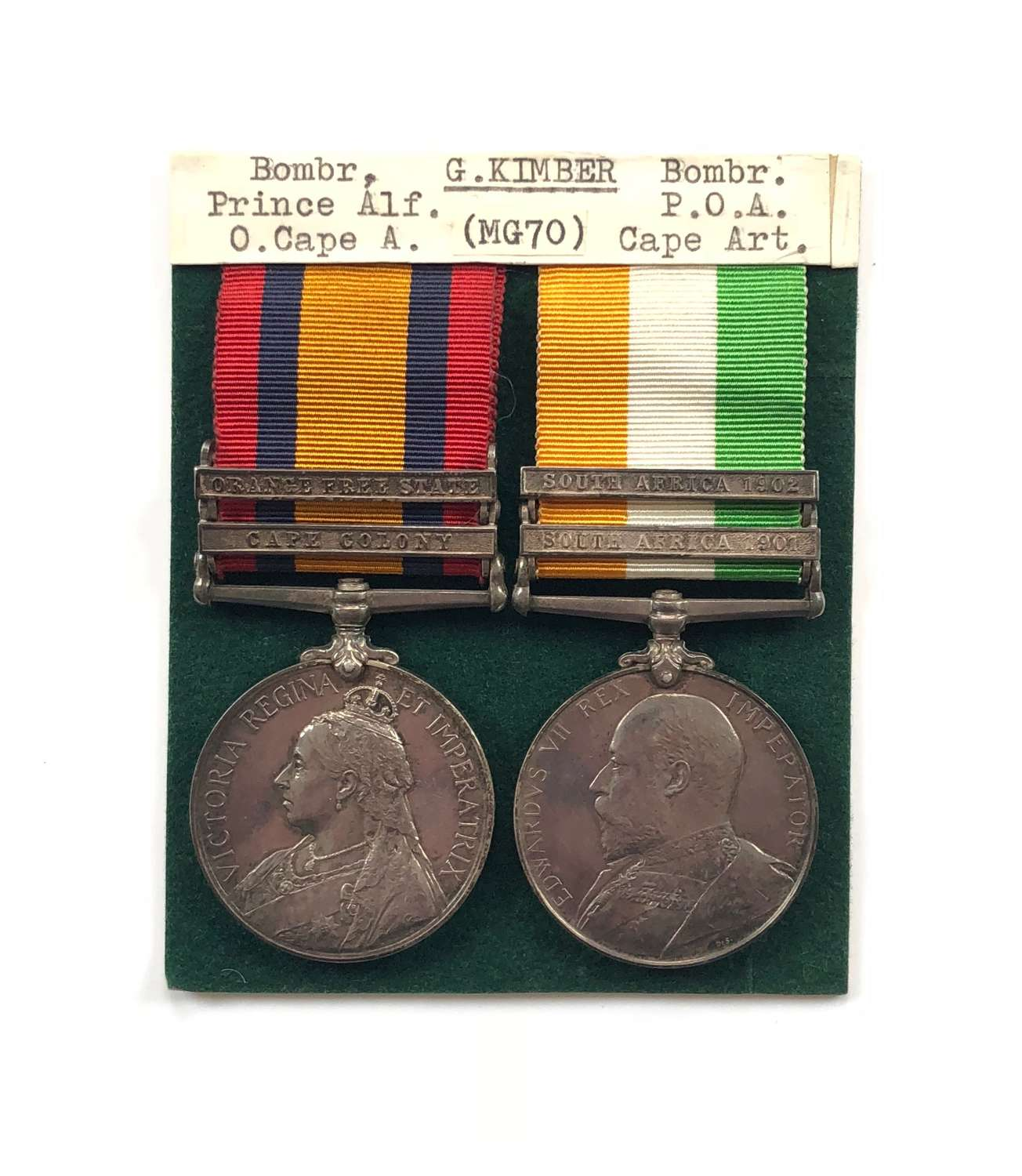 Boer War Prince Alfred's Own Cape Artillery Pair of Medals.